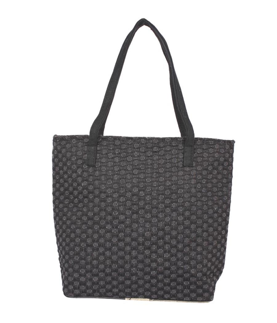 Aliado Jute Black  Coloured Zipper Closure Bag