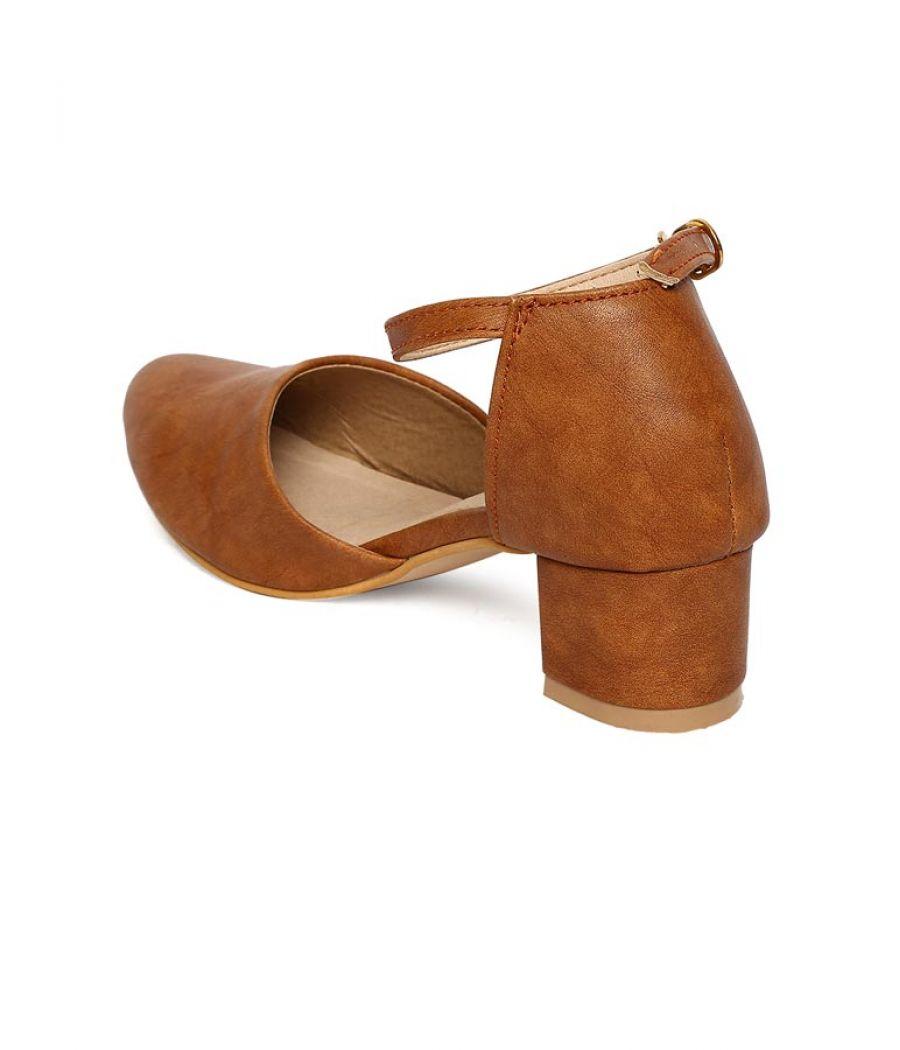 Estatos Broad Toe Brown Comfortable Block Heel Buckle Closure Sandals  for Women