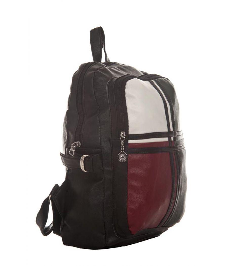 Aliado Faux Leather Solid Black Zipper Closure Backpack