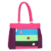 Aliado Cloth Fabric Pink and Multi  Coloured Zipper Closure  Handbag
