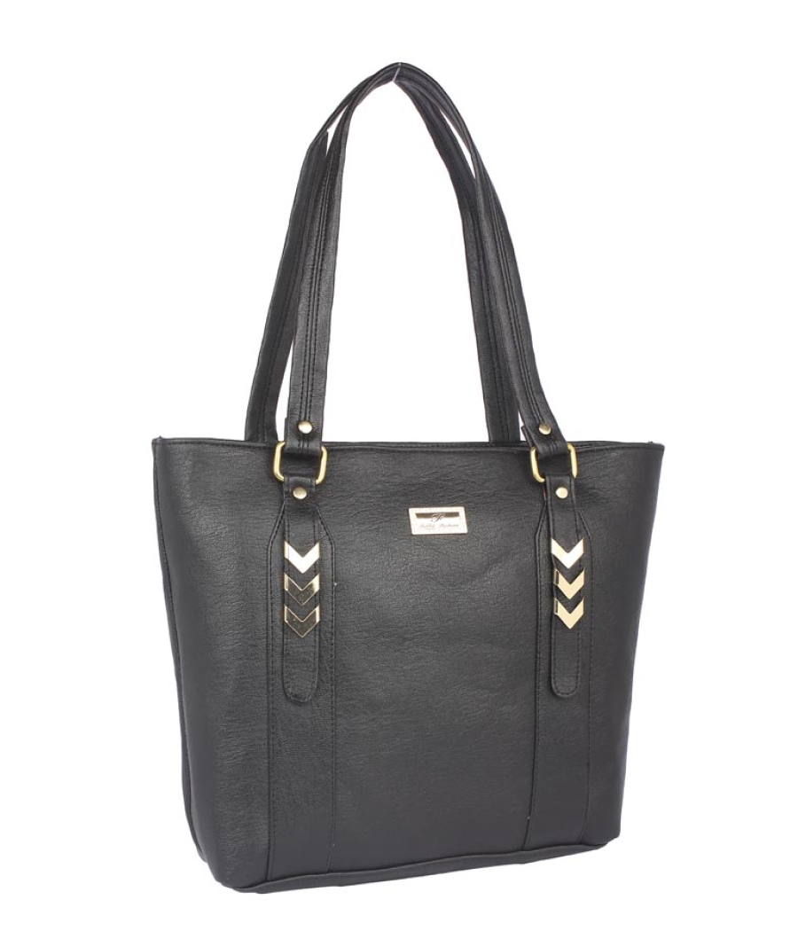 Aliado Faux Leather Black Coloured Zipper Closure Tote Bag