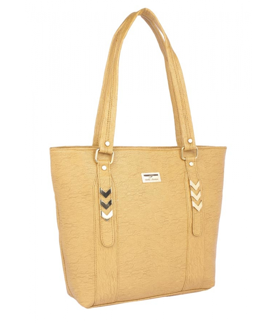 Aliado Faux Leather Solid Mustard Zipper Closure Tote Bag