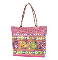 Aliado Cotton Pink Embellished Zipper Closure Handbag