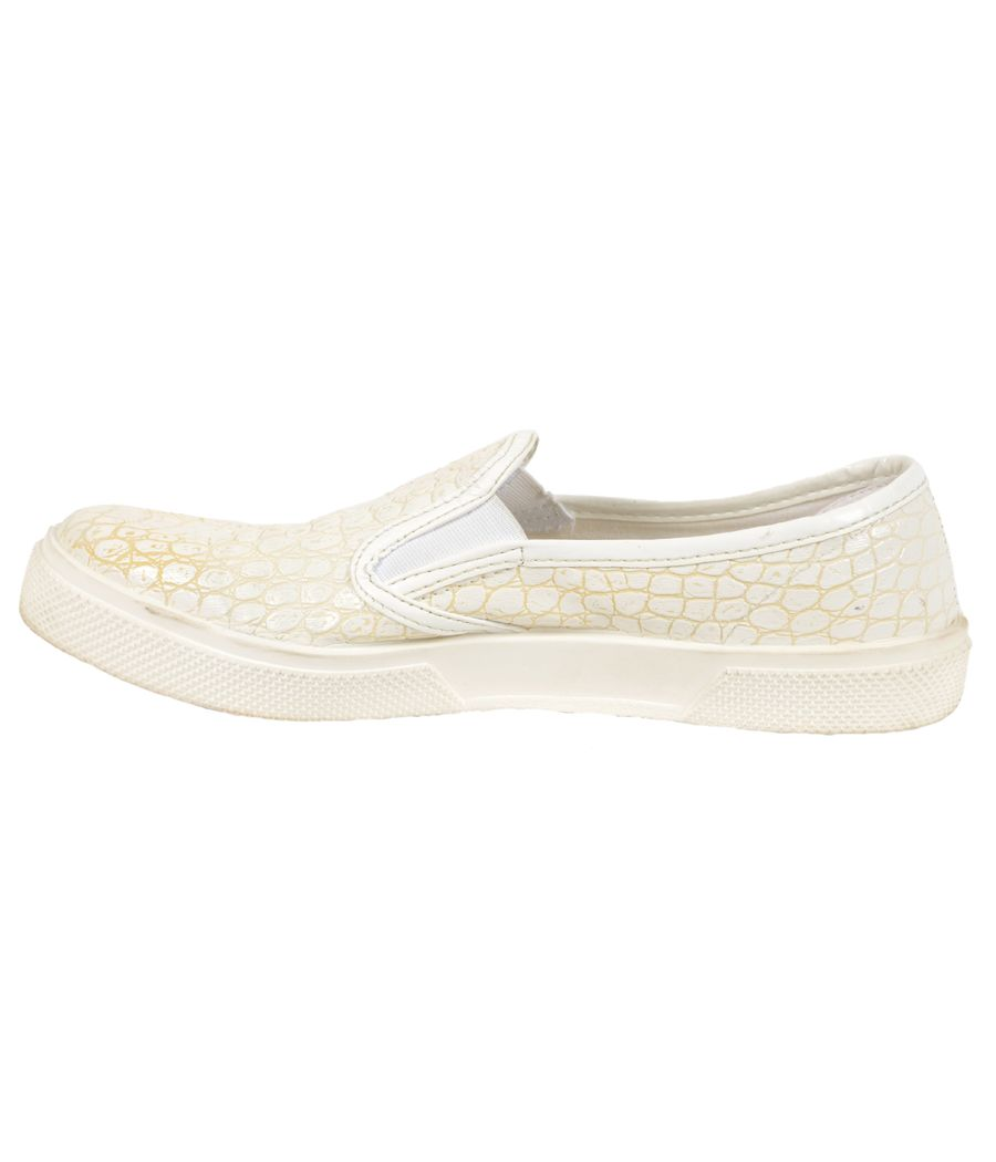 Topshop Faux Leather Croc Pattern Cream Sneakers