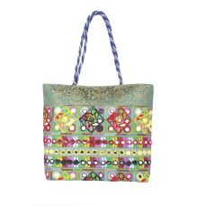 Aliado Cotton Blue and Multi Embellished Zipper Closure Handbag