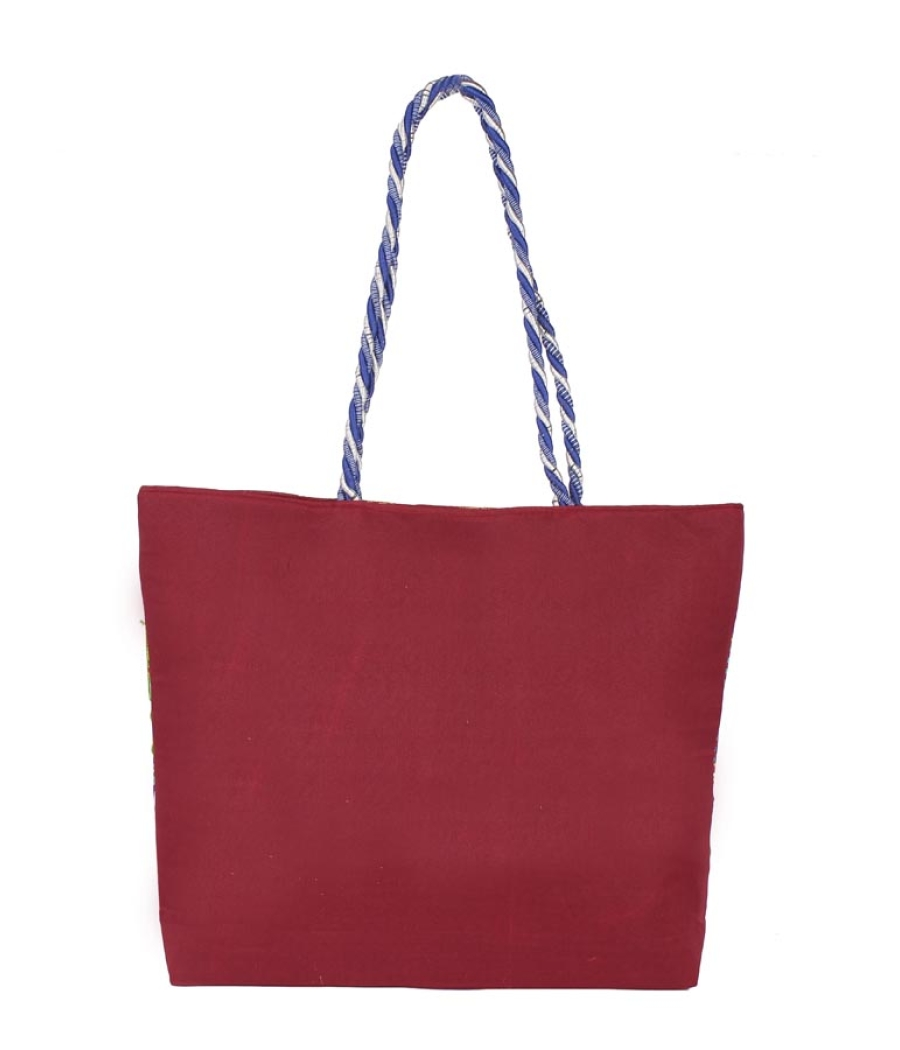 Aliado Cotton Maroon and Multi Embellished Zipper Closure Handbag
