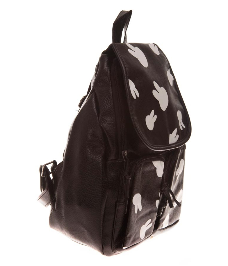 Aliado Faux Leather Printed Black Magnetic Snap Backpack
