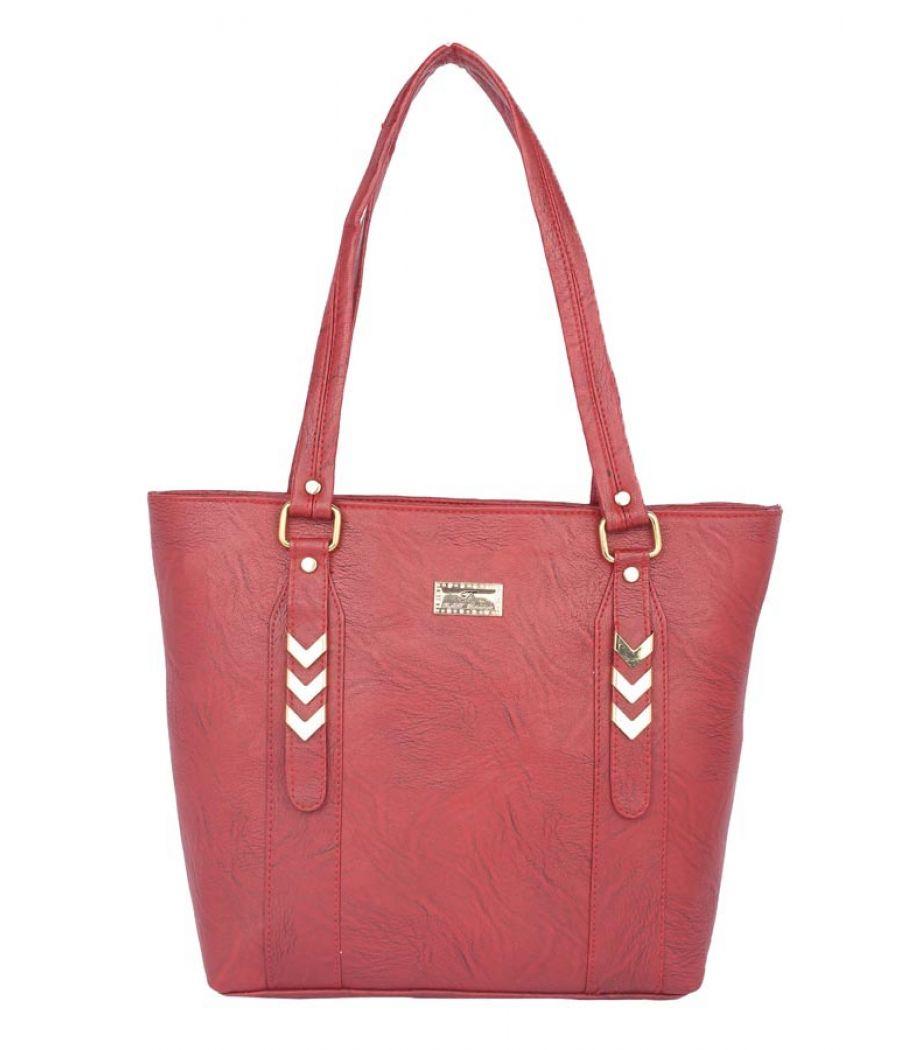 Aliado Faux Leather Magenta Zipper Closure Tote Bag