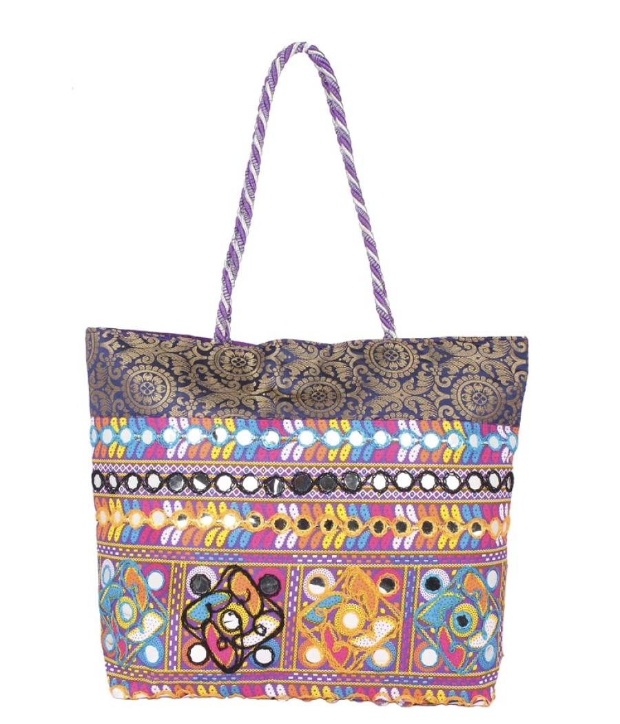 Aliado Cotton Purple Embellished Zipper Closure Handbag