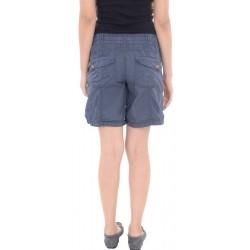 Promod Blue Cotton Button Detailed Shorts