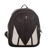 Aliado Faux Leather Solid Black Zipper Closure Backpack