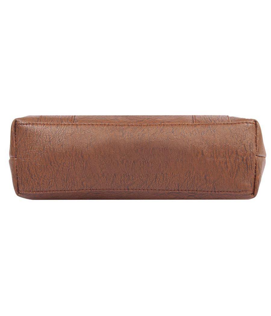 Aliado Faux Leather Coffee Brown Zipper Closure Handbag