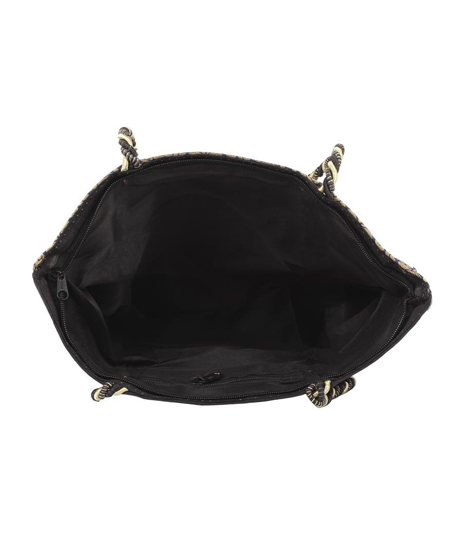 Aliado Cotton Black and Multi Embellished Zipper Closure Handbag