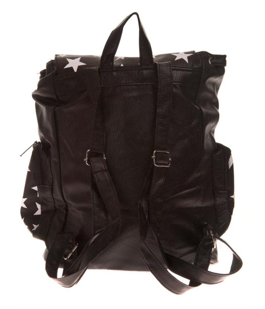 Aliado Faux Leather Printed Solid Black Magnetic Snap Backpack