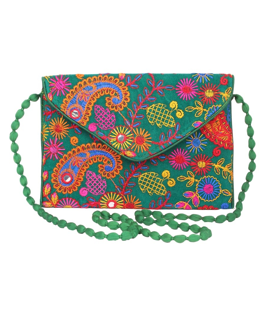 Envie Cloth/Textile/Fabric Embroidered Green & Multi Magnetic Snap Sling Bag