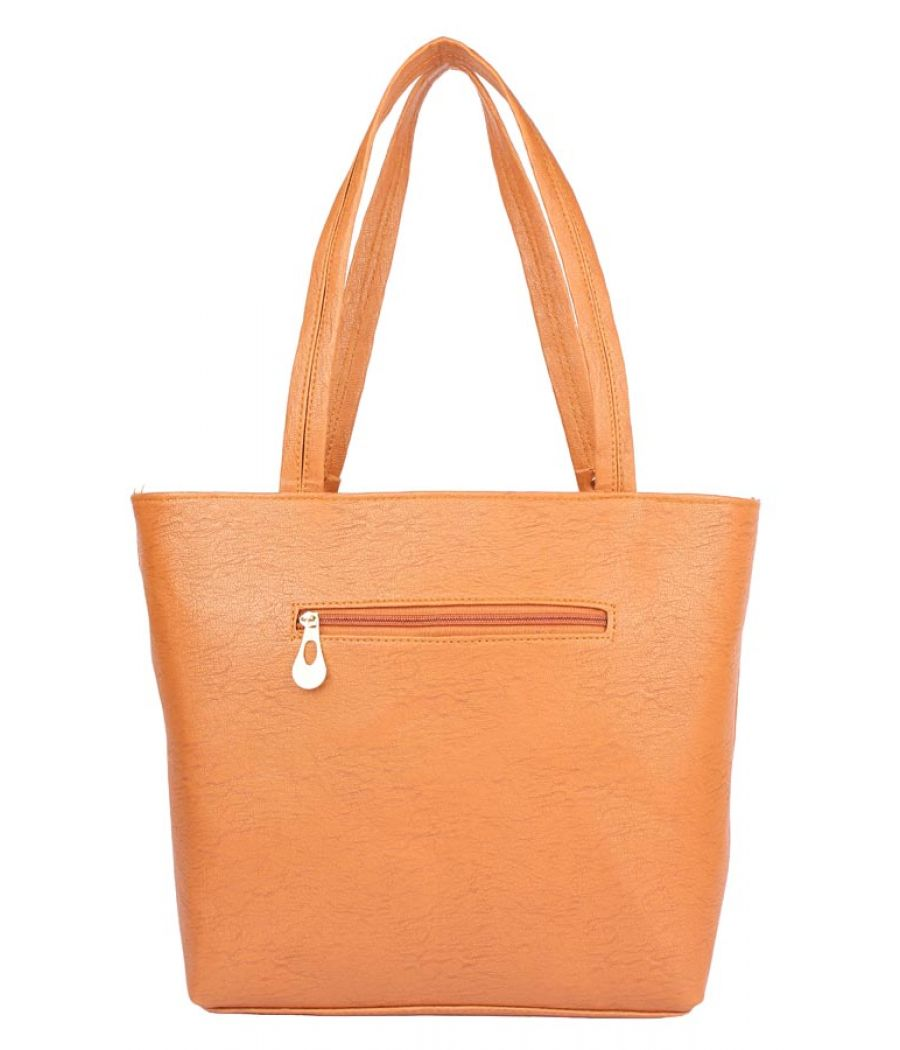 Aliado Faux Leather Brown Coloured Zipper Closure Tote Bag