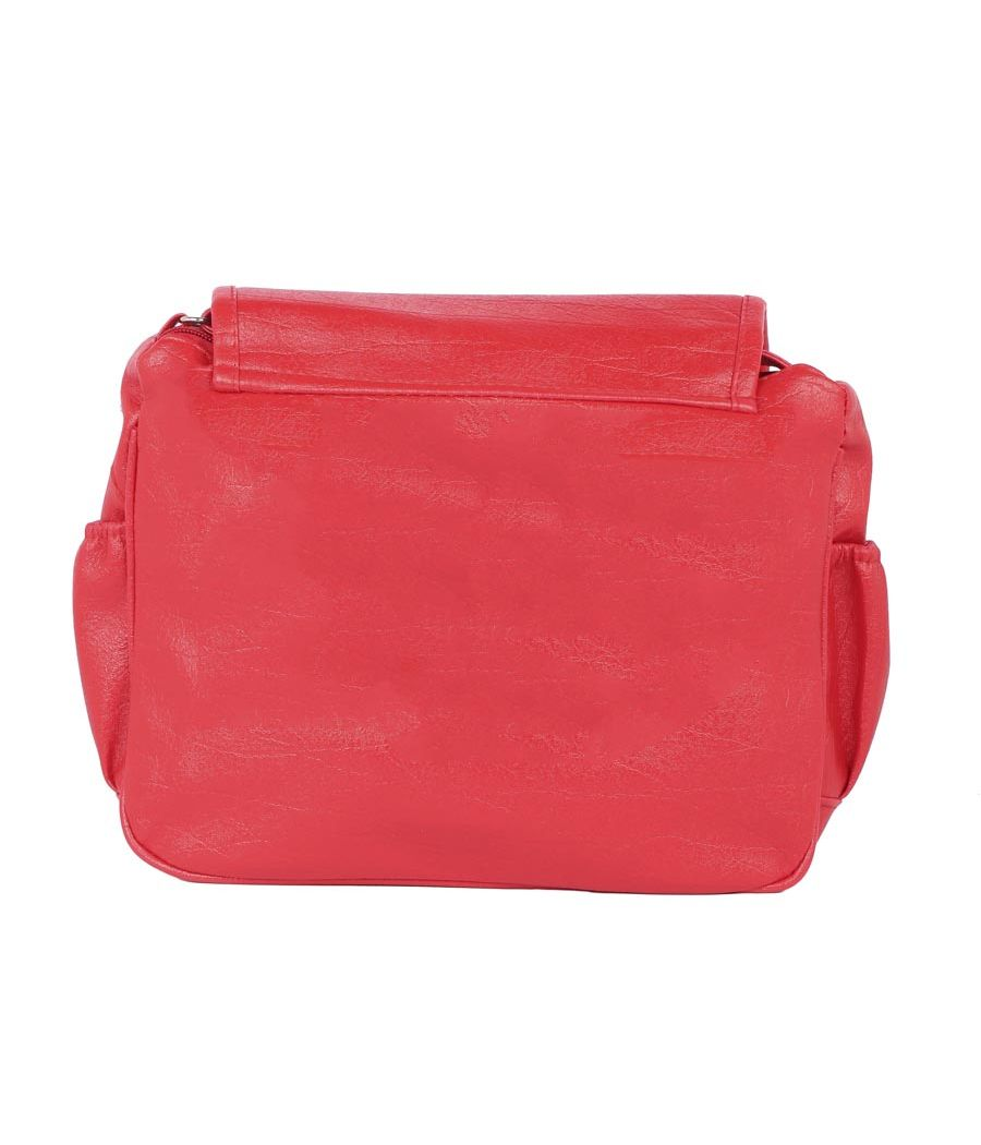 Aliado Cotton Red Solid Zipper Closure Sling Bag