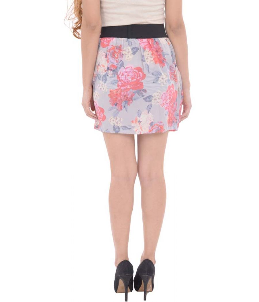 Forever New Multicolour Silk Floral Printed Mini Skirt