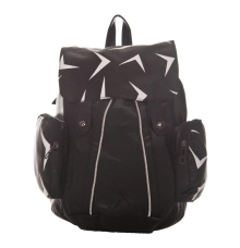 Aliado Faux Leather Printed Black Zipper Closure Backpack