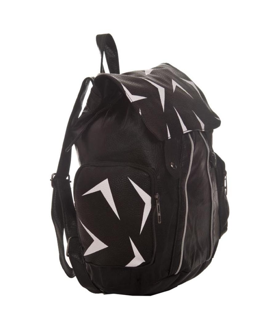 Aliado Faux Leather Printed Black Zipper Closure Backpack