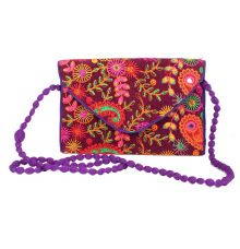 Envie Cloth/Textile/Fabric Embroidered Magenta & Multi Crossbody Bag
