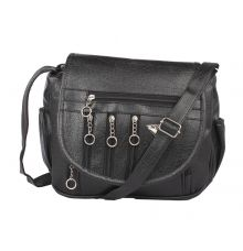 Aliado Cotton Black Solid Zipper Closure Sling Bag