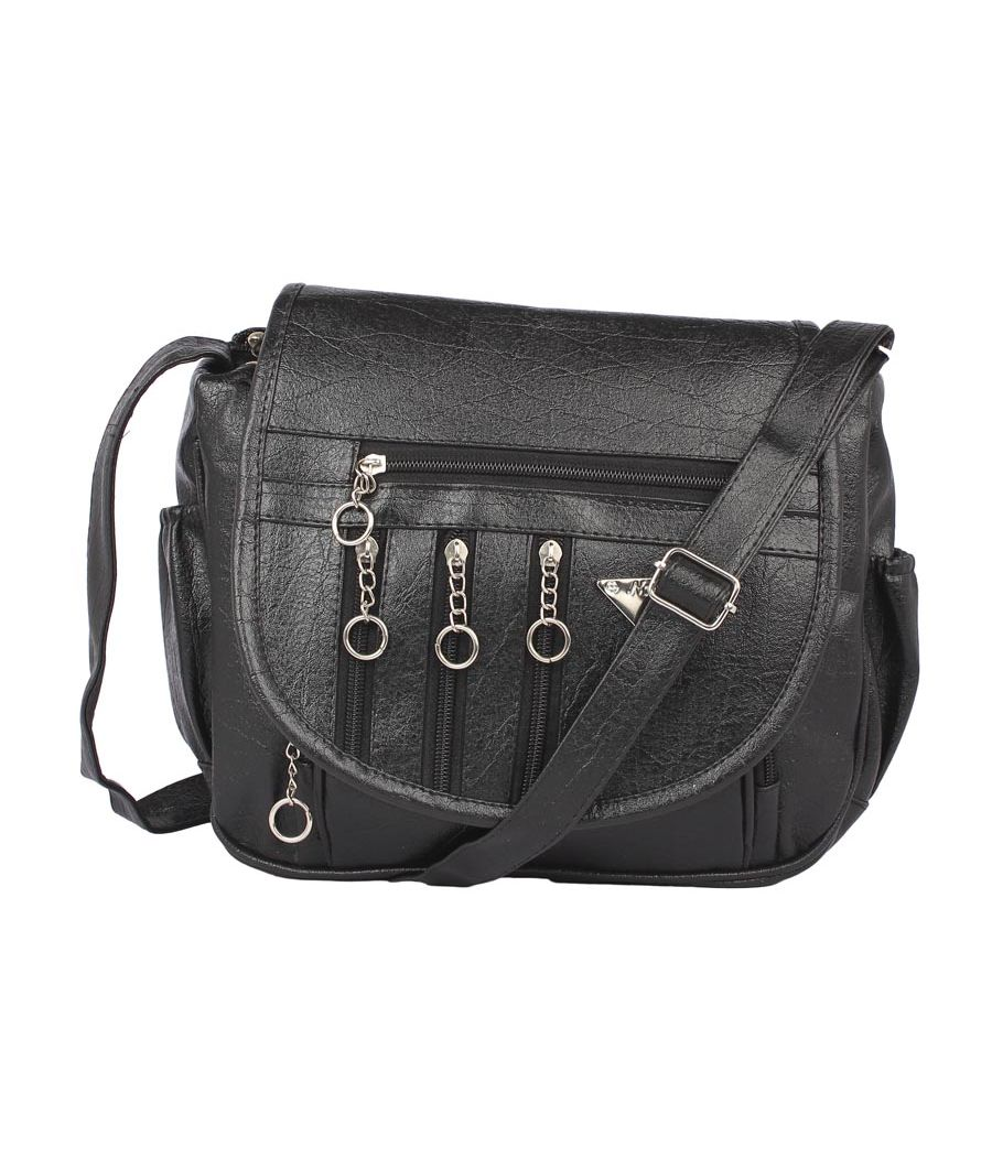Aliado Cotton Black Solid Zipper Closure Sling Bag
