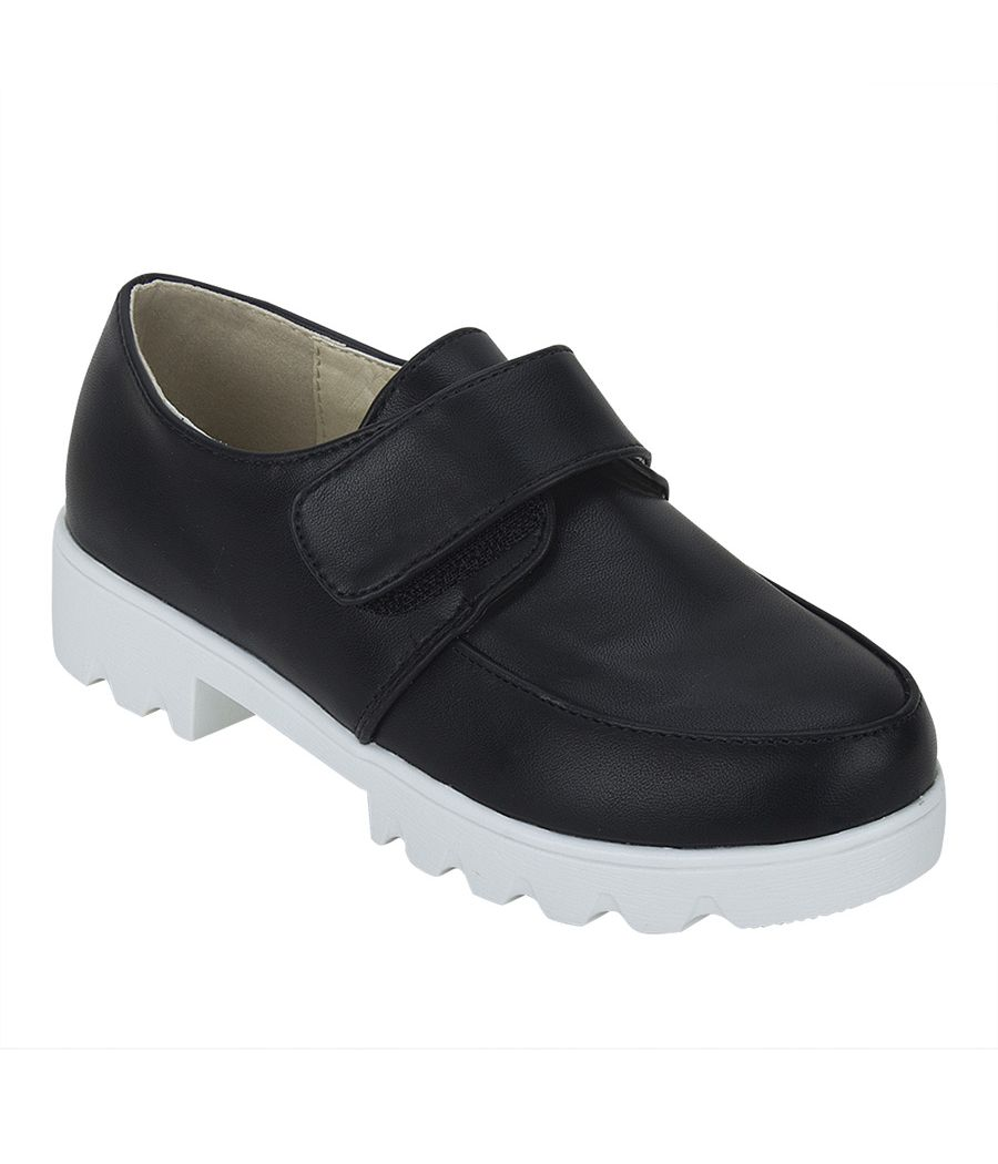 Joy n Fun Shiny Leather Broad Toe Comfortable White Sole Strap Velcro Closure Party Wear Black  Shoes for Boys/ Kids