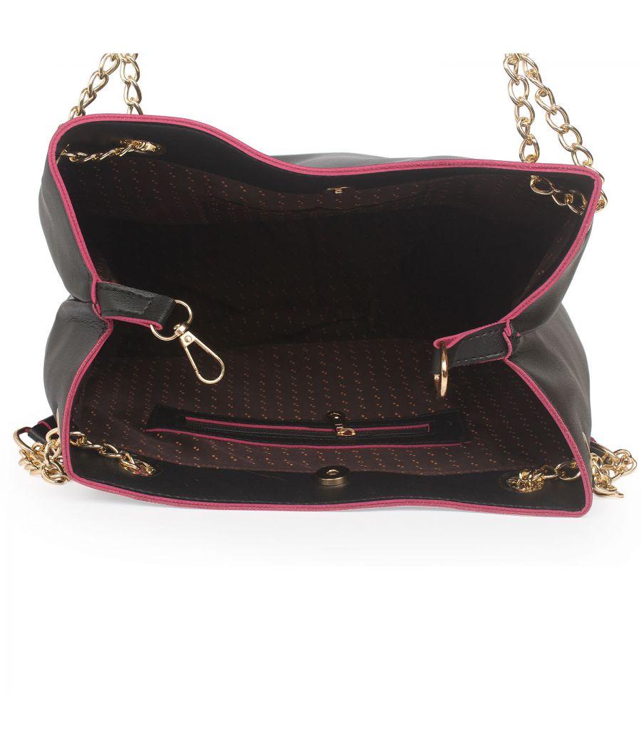 Aliado Black Artificial Leather Tuck Lock Closure Handbag