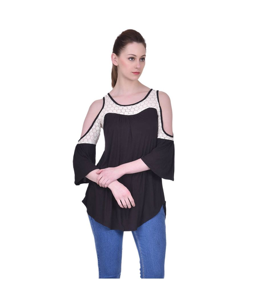 Estance Hosiery Solid Black & Off White Cold Shoulder 3/4th Sleeves Casual Lace Top