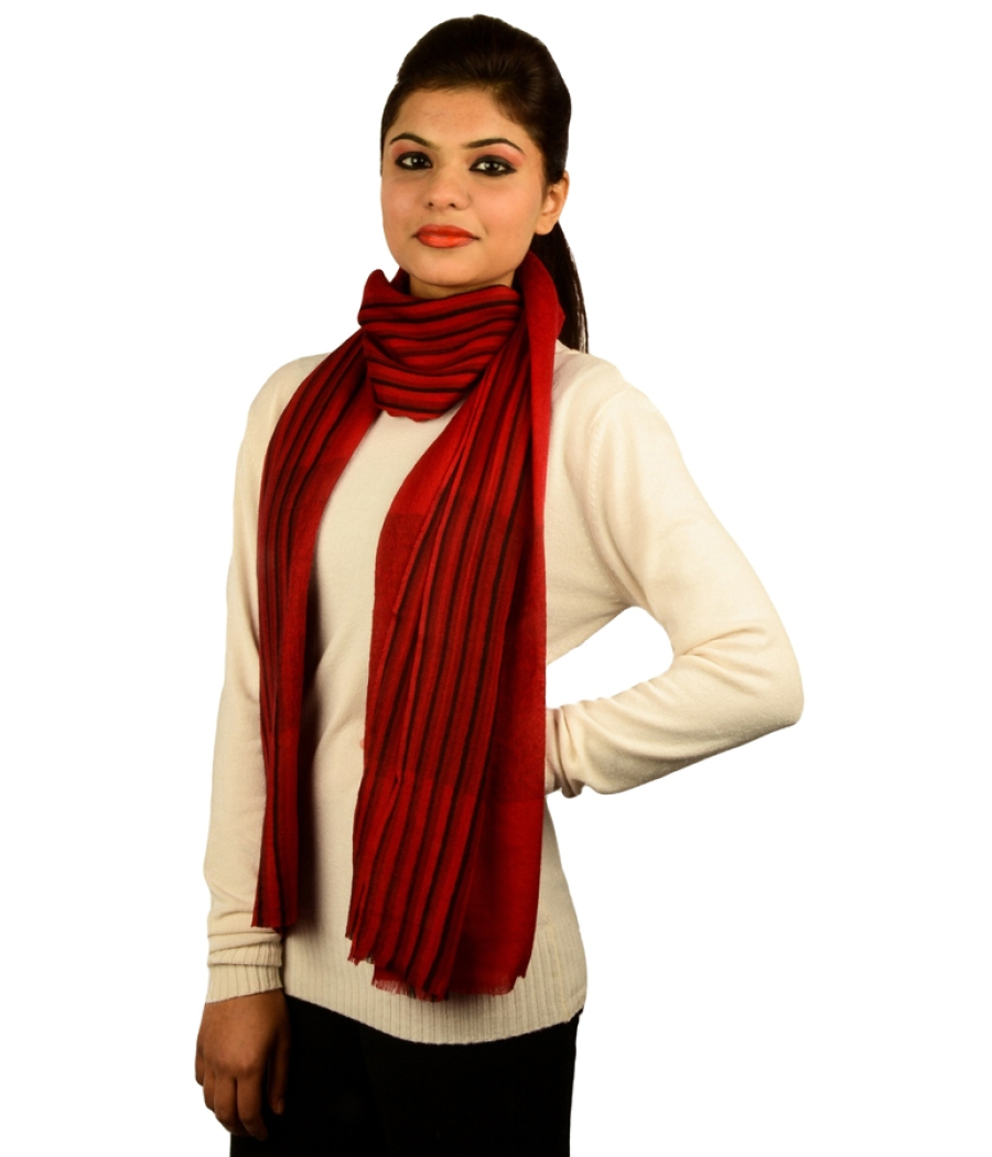 Red  and Black Pashmina Stole