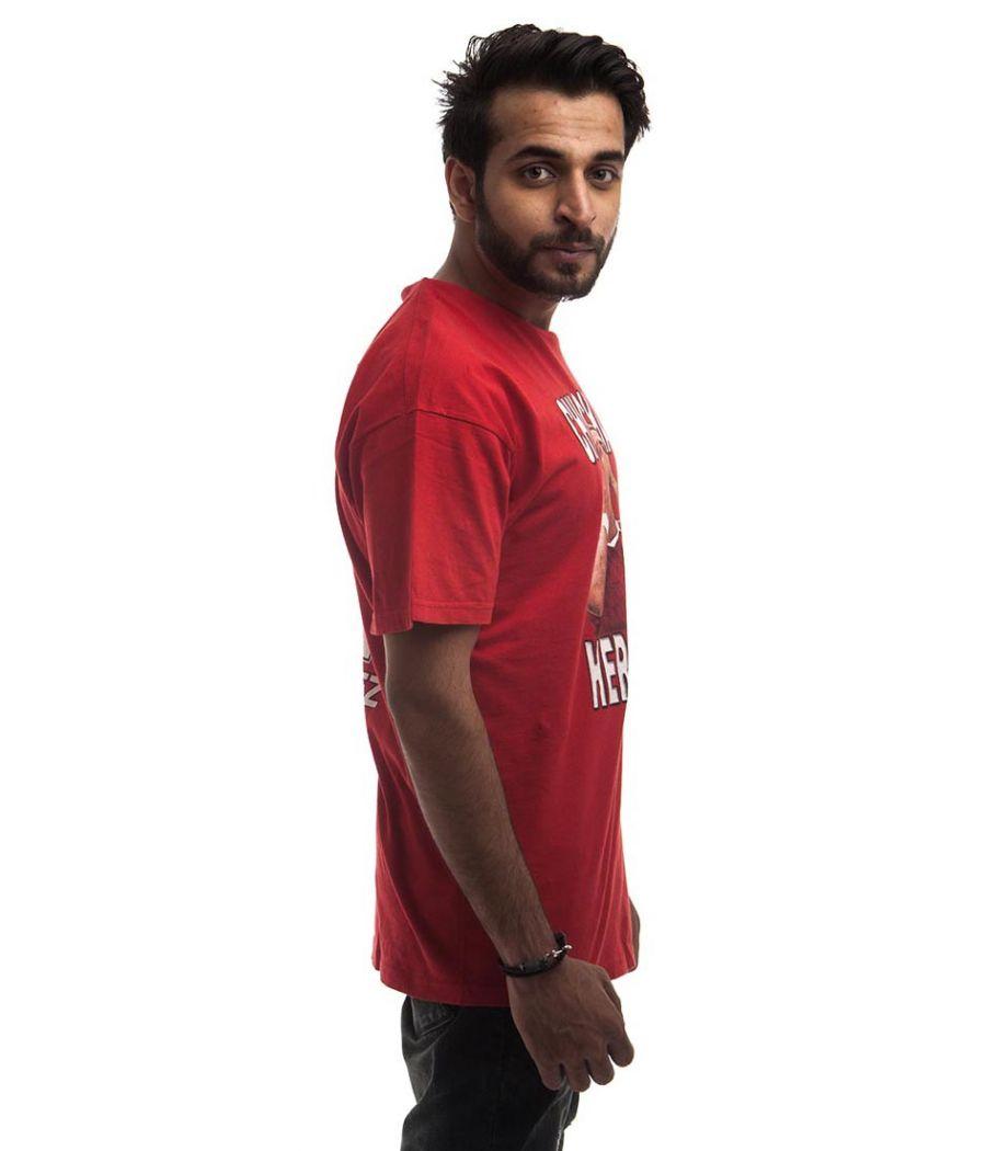 Etashee Certified Polycotton Plain Printed Red Round Neck Casual T-shirt