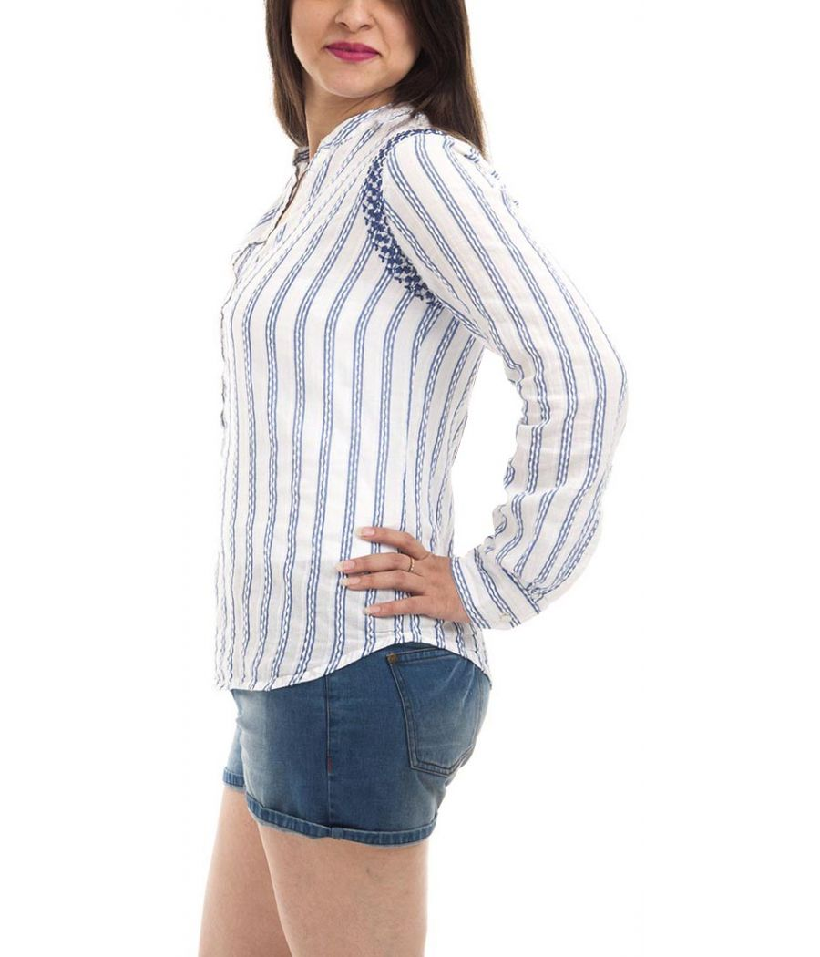 Zara Basic Cotton Plain Striped Blue & White Full Sleeves Collared Neck Casual Top