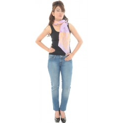 Tie Rack London Cotton Floral/Striped Printed Purple/Orange Scarf