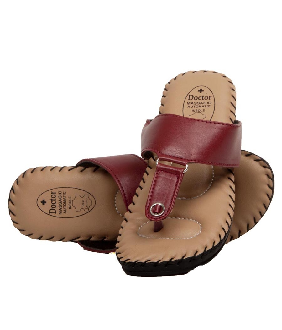 Rudra Collection Synthetic Leather Maroon Open Toe T Strap Platform Flip Flop