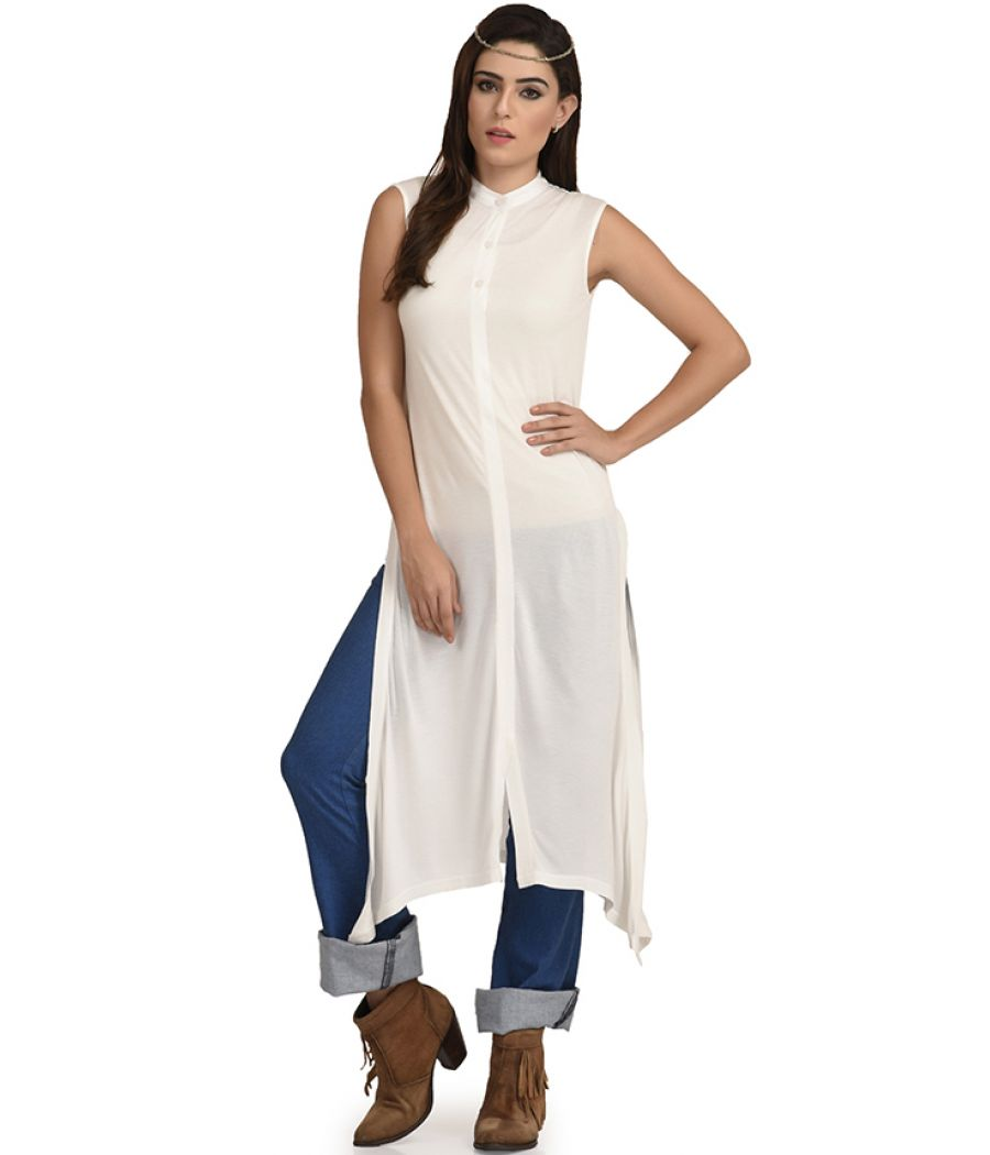 Estance Jersey Solid Asymmetric White Maxi Top