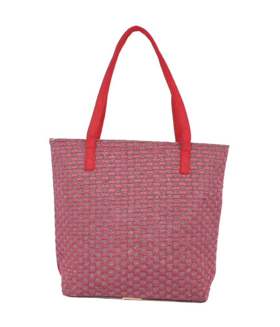 Aliado Jute Red and Pink Zipper Closure Bag