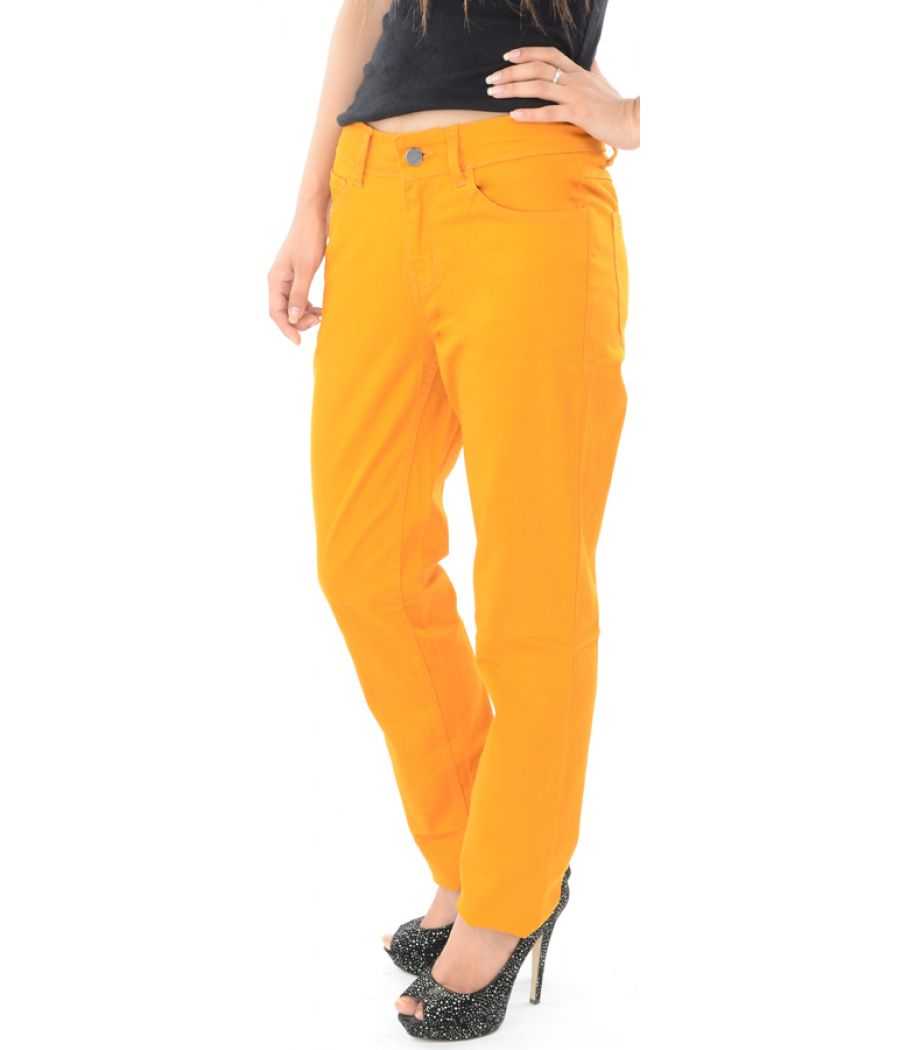 Pepe Jeans Solid Orange Straight Fit Jeans