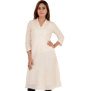 FabIndia Cotton Embroidered Cream Flared Kurti