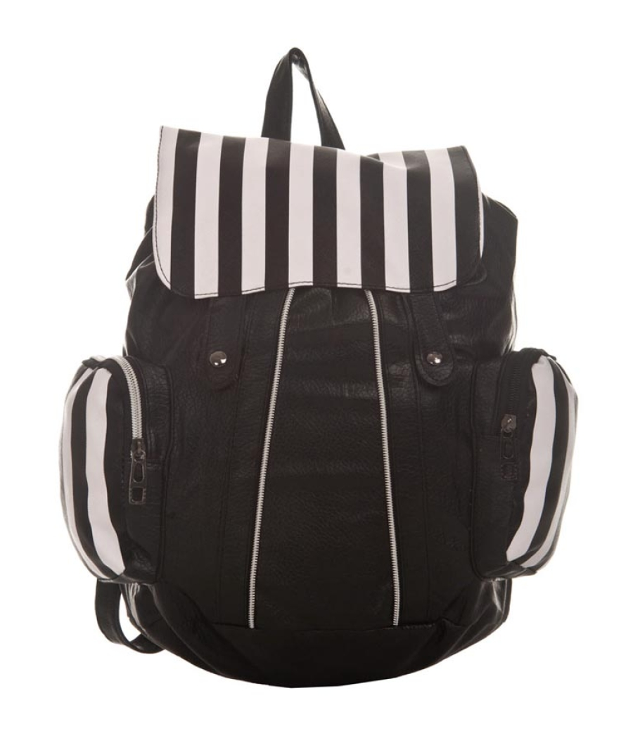 Aliado Faux Leather Printed Black & White Magnetic Snap Backpack
