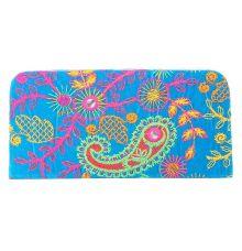 Envie Cloth/Textile/Fabric Embroidered Blue & Multi Zipper Closure Clutch