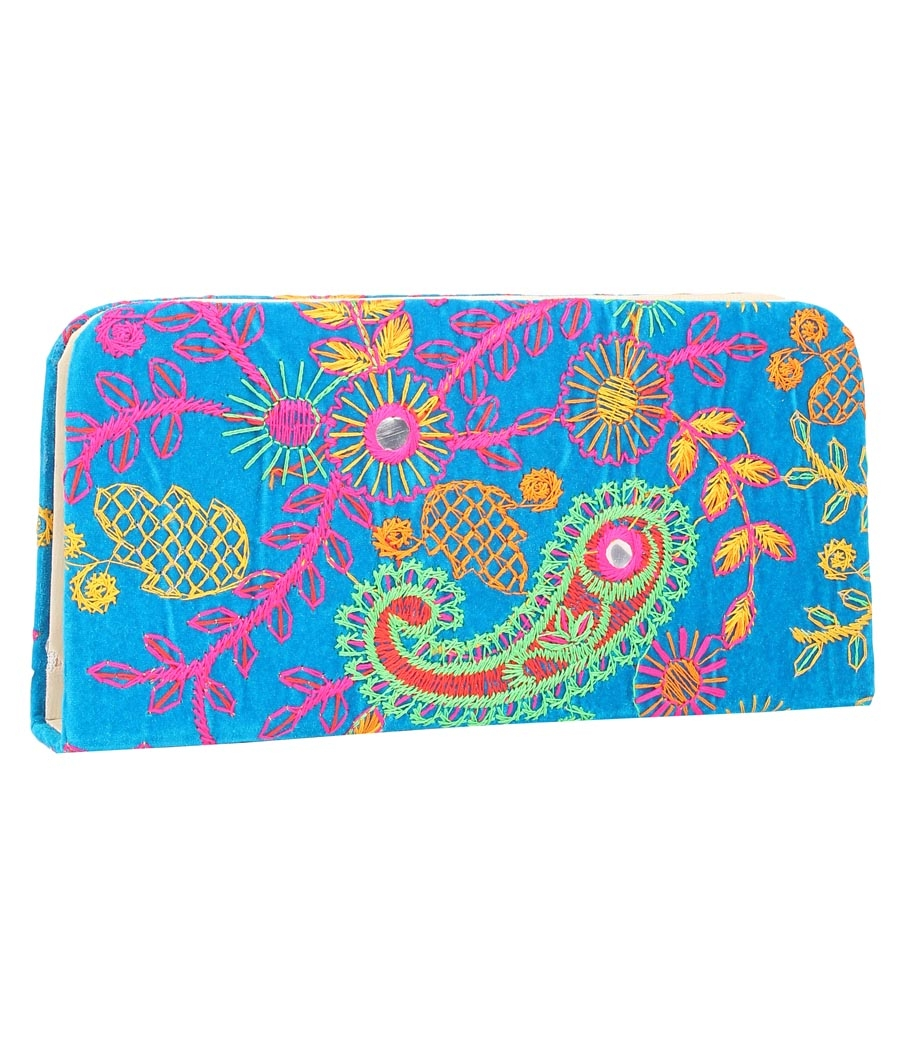 Envie Cloth/Textile/Fabric Embroidered Blue & Multi Zipper Closure Clutch