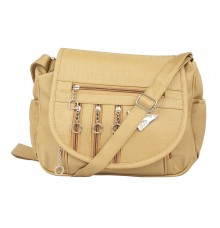 Aliado Faux Leather  Beige  Magnetic Snap Closure Crossbody Bag