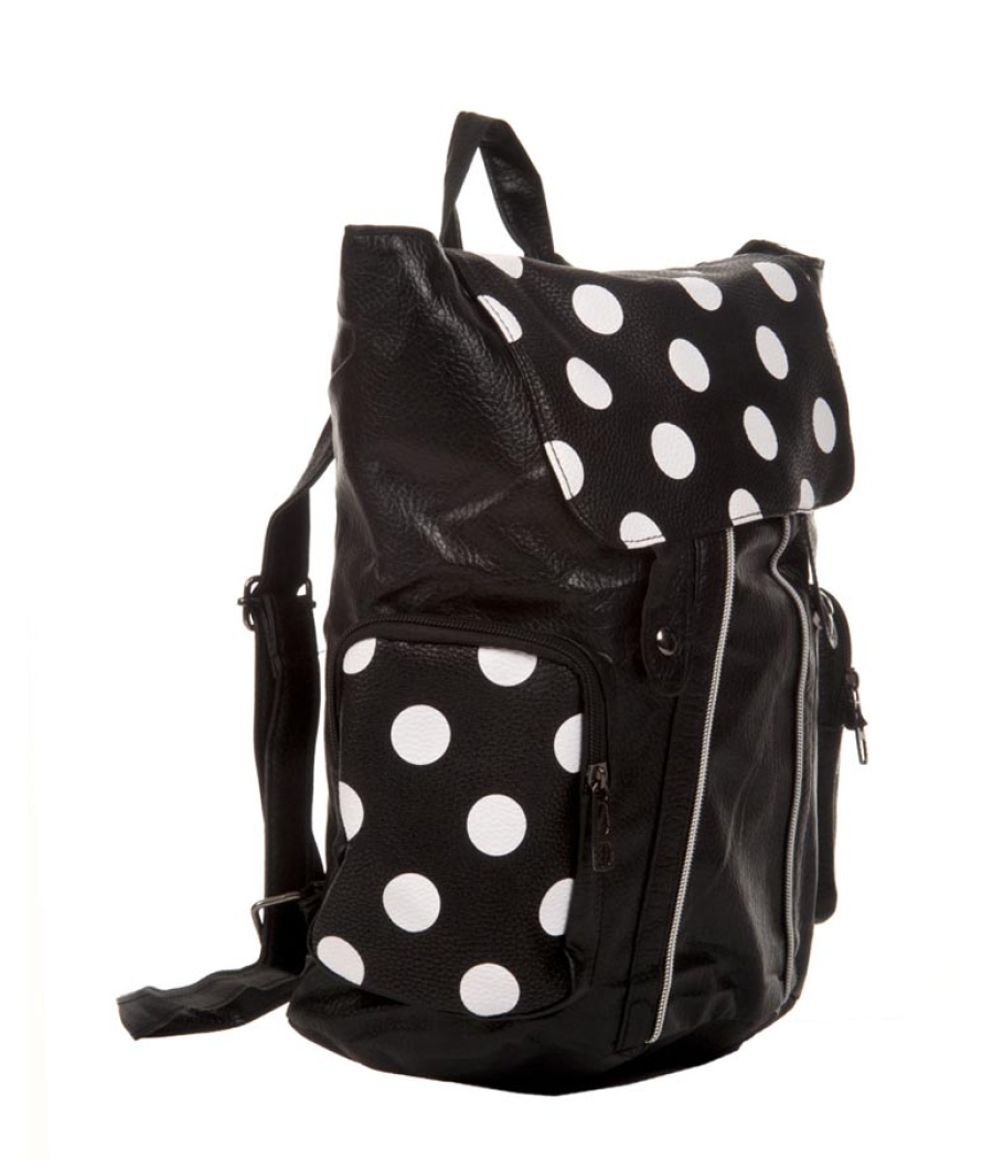 Aliado Faux Leather Printed Black & White Magnetic Snap Stylish Backpack