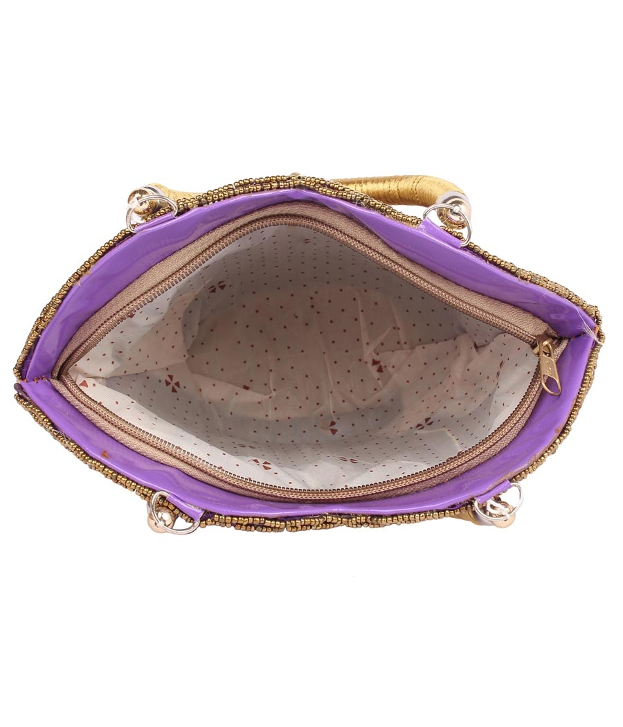 Envie Cloth/Textile/Fabric Embellished Purple Zipper Closure Handbag