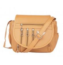 Aliado Faux Leather  Mustard  Magnetic Snap Closure Crossbody Bag
