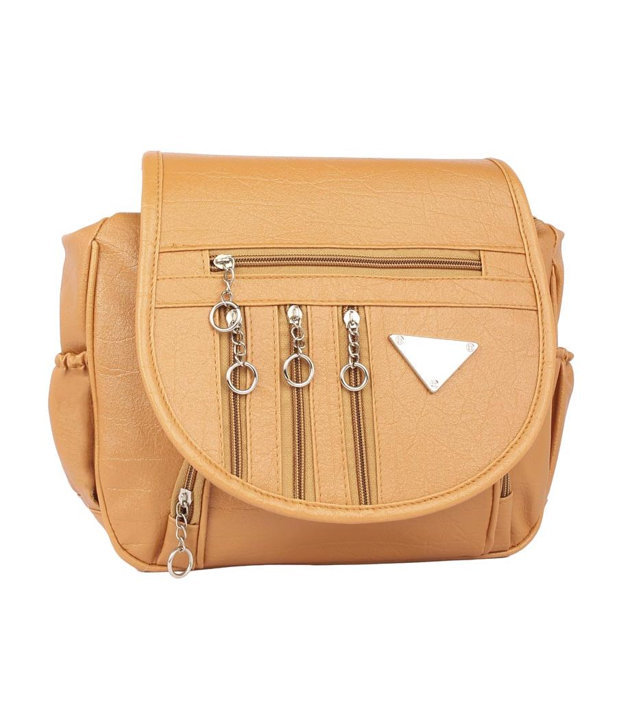 Aliado Faux Leather  Mustard  Magnetic Snap Closure Crossbody Bag