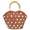 Envie Cloth/Textile/Fabric Embellished Maroon Zipper Closure Tote Bag