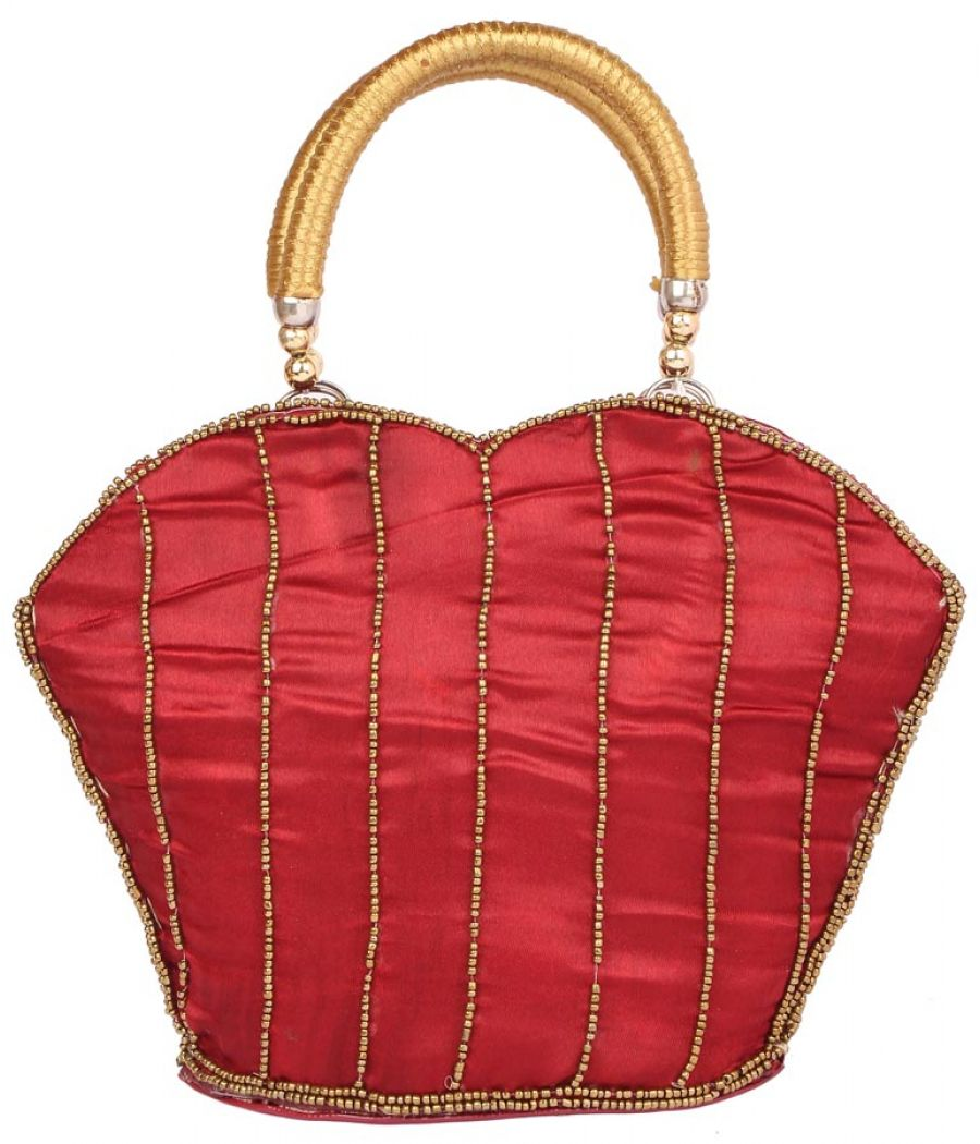 Envie Cloth/Textile/Fabric Embellished Maroon Zipper Closure Tote Bag