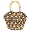 Envie Cloth/Textile/Fabric Embellished Black Zipper Closure Handbag